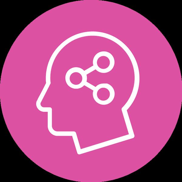 Työkyky-teeman symboli. Henkilön pää, jonka sisällä on kolme pientä palloa kuvaamassa ajatuksia..