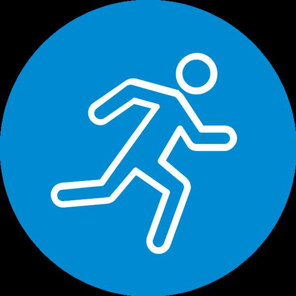 Liikunta-teeman symboli. Henkilö juoksee.