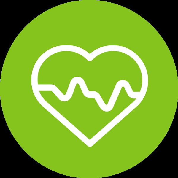 Terveys-teeman symboli. Sydän, jonka sisällä on käyrä kuvaamassa sykettä.