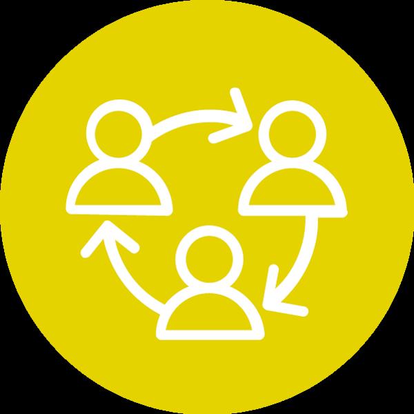 Harrastukset ja ihmissuhteet -teeman symboli. Kolme henkilöä muodostavat piirin. Henkilöiden välissä on seuraavaan henkilöön osoittava nuoli kuvaamassa vuorovaikutusta.