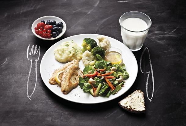 Lautasmalli sisältää pienen astiallisen marjoja, suuren lautasen vihanneksia, perunamuusia, parsakaalia, kalaa ja pienen kulhollisen kastiksetta. Lautasen vieressä on pieni pala leipää levitteellä ja lasillinen maitoa. Lautasen ympärille pöytään on piirretty haarukka ja veitsi.