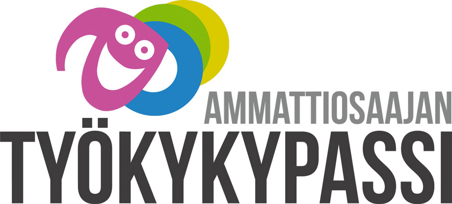 Työkykypassin logo. Sisältää tekstin Ammattiosaajan työkykypassi, jonka alapuolella neljä palloa. Niistä ensimmäinen muodostaa hymyilevät kasvot.